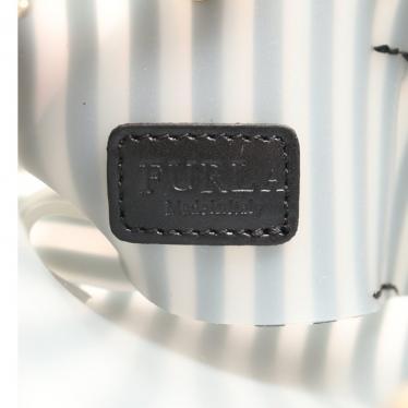 FURLA・バッグ・CANDY キャンディ チェーンショルダーバッグ ストライプ ラバー 黒 クリア