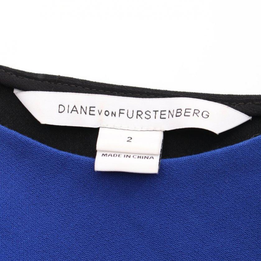 DIANE von FURSTENBERG・ワンピース・LAURA ワンピース ノースリーブ 青 黒 バイカラー