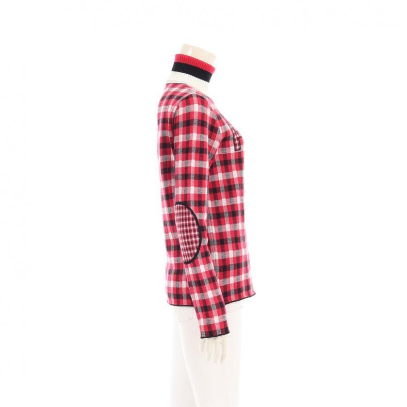 FENDI・トップス・ ニット チェック柄 ロゴ 長袖 タートルネック プルオーバー ウール ピンク 白 黒 肘パッチ