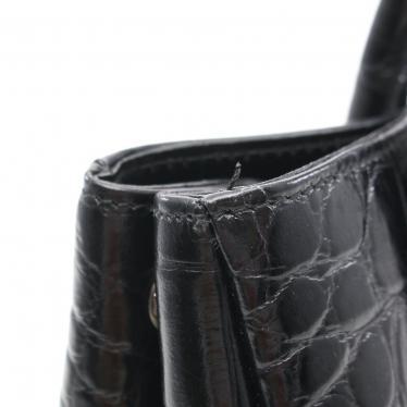 FURLA・バッグ・ ハンドバッグ レザー 黒 クロコ型押し