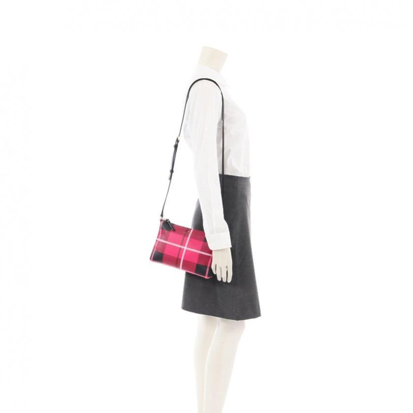 kate spade・バッグ・CAROLYN HAWTHORNE LANE ショルダーバッグ チェック柄 PVC レザー ピンク 黒