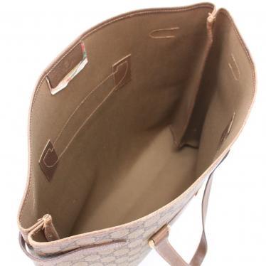 GUCCI・バッグ・オールドグッチ GGプラス トートバッグ PVC レザー ベージュ 茶色