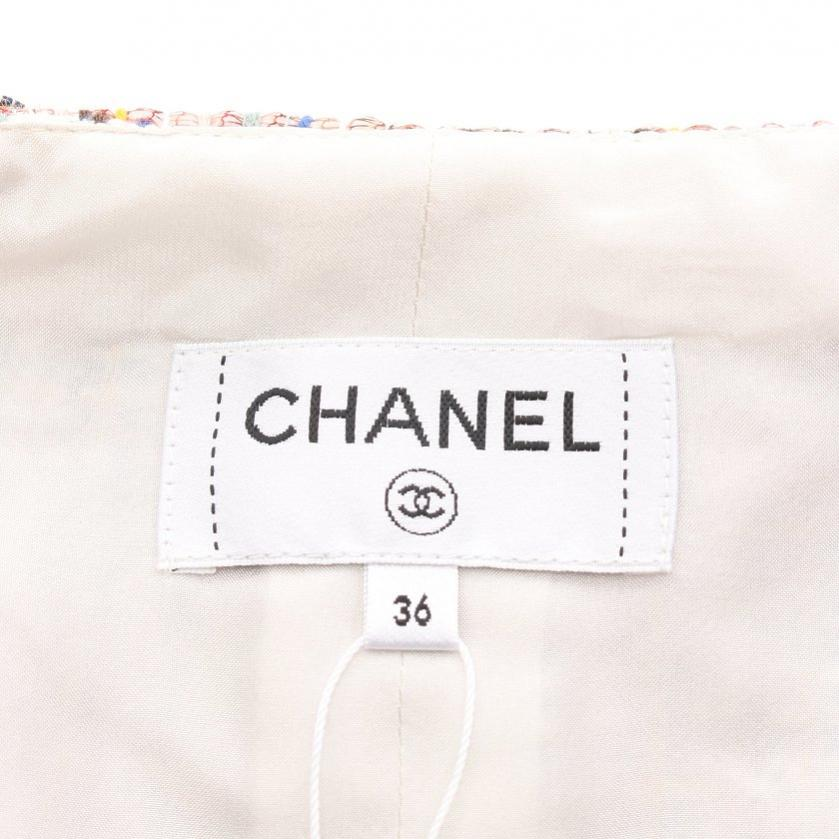 CHANEL・ボトムス・ココマークボタン スカート ベージュ マルチカラー ツイード 18SS