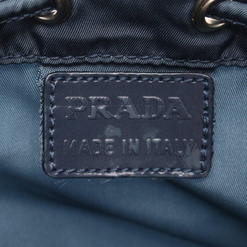PRADA・財布・小物・VERA 巾着ポーチ ナイロン レザー グレーブルー