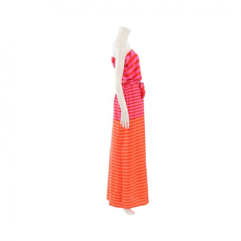 BCBG MAXAZRIA・ワンピース・DODSON ベアトップワンピース ボーダー柄 赤 ピンク オレンジ サイドスリット