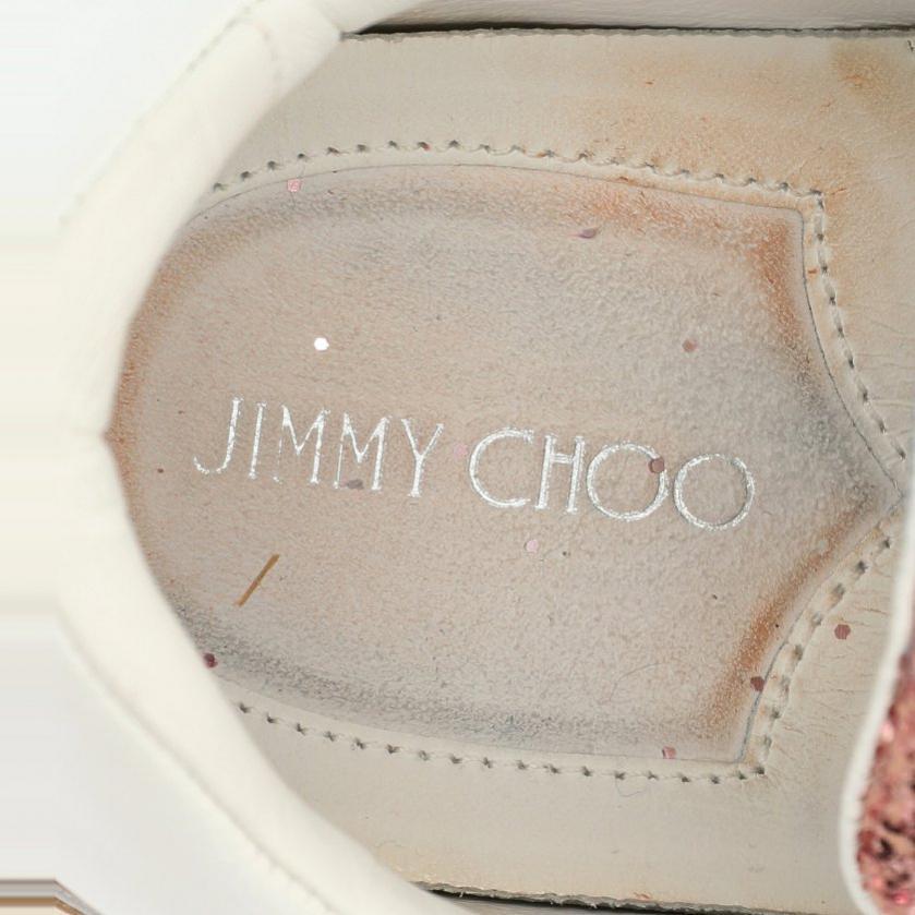 JIMMY CHOO・シューズ・RAINE スニーカー レザー グリッター ピンク 白