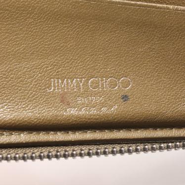 JIMMY CHOO・財布・小物・LAWRENCE 二つ折りラウンド財布 レザー カーキ スタースタッズ