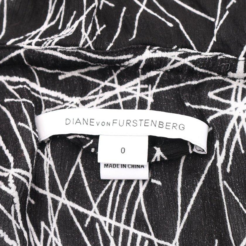 DIANE von FURSTENBERG・スーツ・ADELE オールインワン 黒 白 ラッフルフリル ベルト付