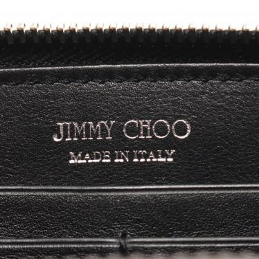 JIMMY CHOO・財布・小物・FLIPA フリッパ ラウンドファスナー長財布 エナメルレザー 黒 スタースタッズ