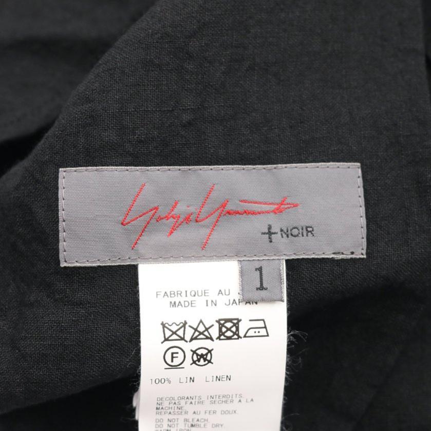 Yohji Yamamoto・トップス・+Noir 硫化クロス パネル切替 ブラウス 麻 黒