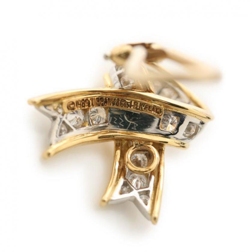 TIFFANY & Co.・アクセサリー・パヴェダイヤ イヤリング K18YG ダイヤモンド イエローゴールド リボンモチーフ