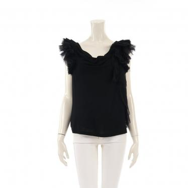 GIVENCHY・トップス・Frill Shoulder Blouse ブラウス シルク 黒 フリル ティアード