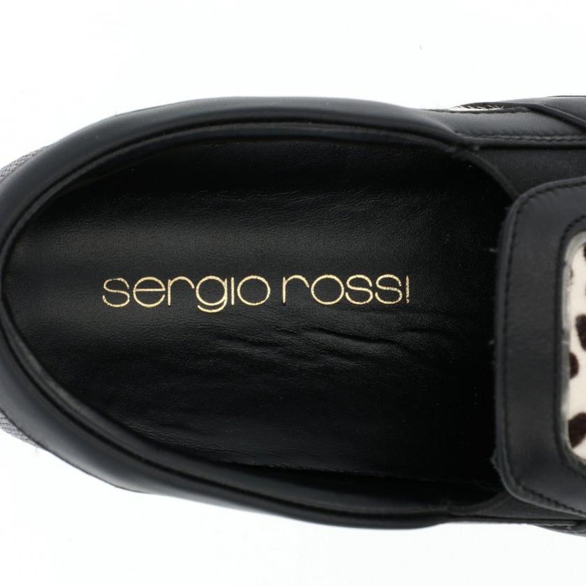Sergio Rossi・シューズ・COMBO PONY スリッポン スニーカー アニマル柄 ハラコ アイボリー 茶色 メタリックブラック
