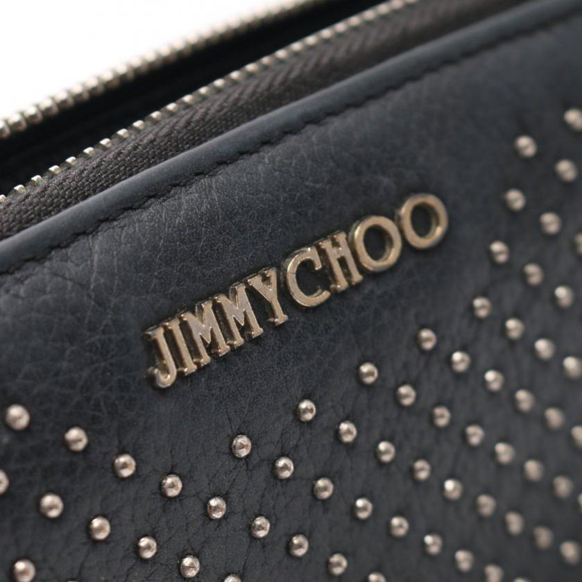 JIMMY CHOO・財布・小物・FILIPA フィリパ ラウンドファスナー長財布 レザー 黒 マイクロスタッズ