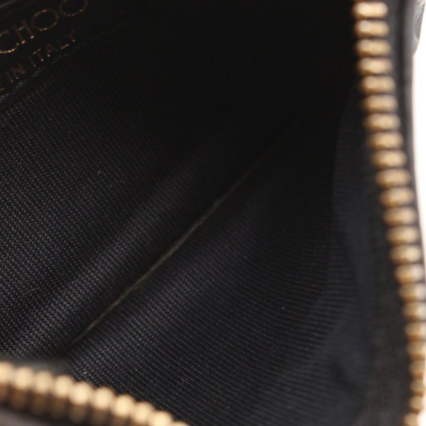 JIMMY CHOO・財布・小物・NANCY ナンシー 小銭入れ コインケース レザー 黒 スターエンボス キーリング付き
