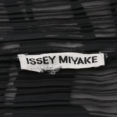 ISSEY MIYAKE・トップス・ ブラウス チェック柄 黒 プリーツ ロング スリット
