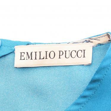 EMILIO PUCCI・トップス・ ブラウス 総柄 半袖 シルク 青 マルチカラー