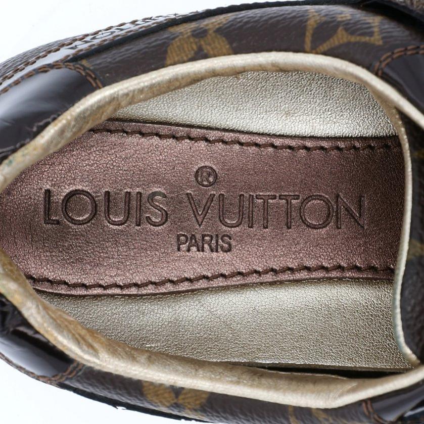 LOUIS VUITTON・シューズ・モノグラム スニーカー PVC レザー 茶色 ベルクロ レースアップ