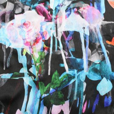 EMPORIO ARMANI・トップス・ブラウス 花柄 シルク 黒 マルチカラー