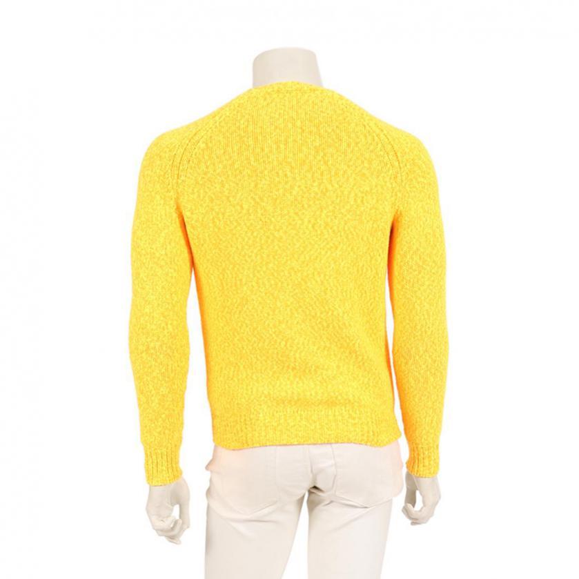 CARVEN・トップス・セーター ニット 長袖 クルーネック ナイロン オレンジ 黄