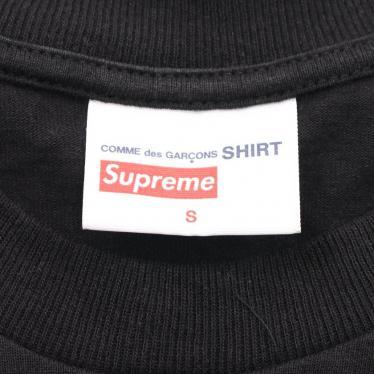 Supreme・トップス・Supreme × COMME des GARCONS SHIRT Split Box Logo Tee Tシャツ カットソー 黒 白 2018AW