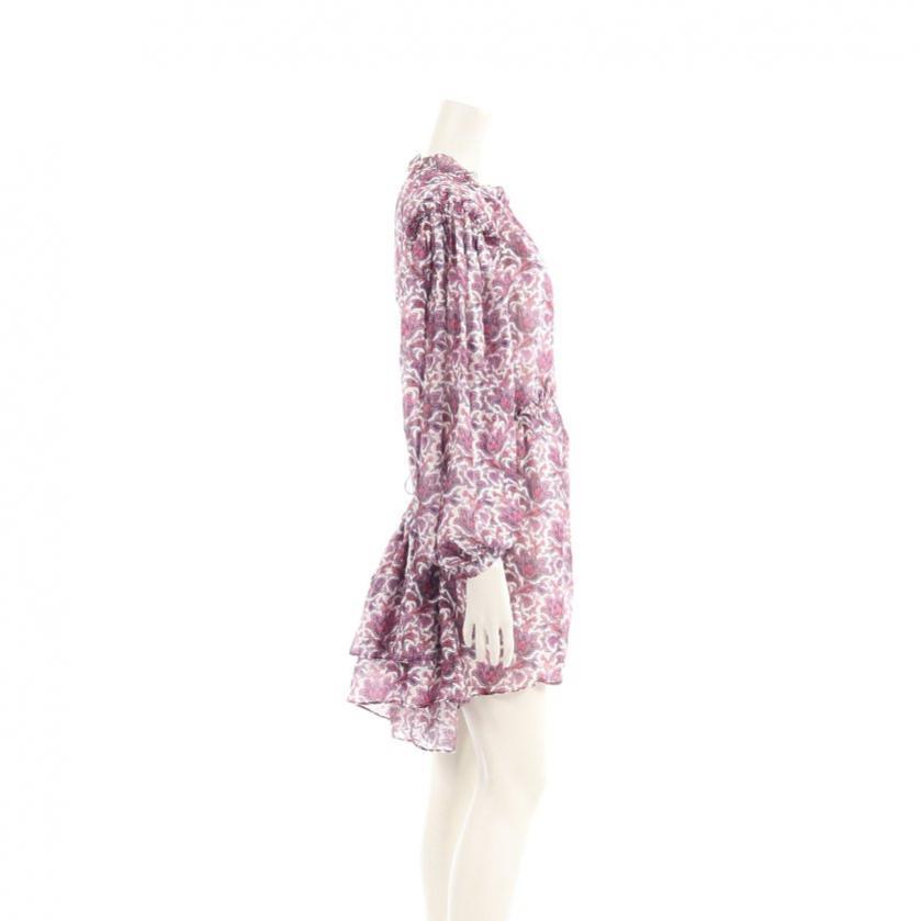 ISABEL MARANT・ワンピース・Nydia printed silk mini dress ワンピース 総柄 シルク 紫 白