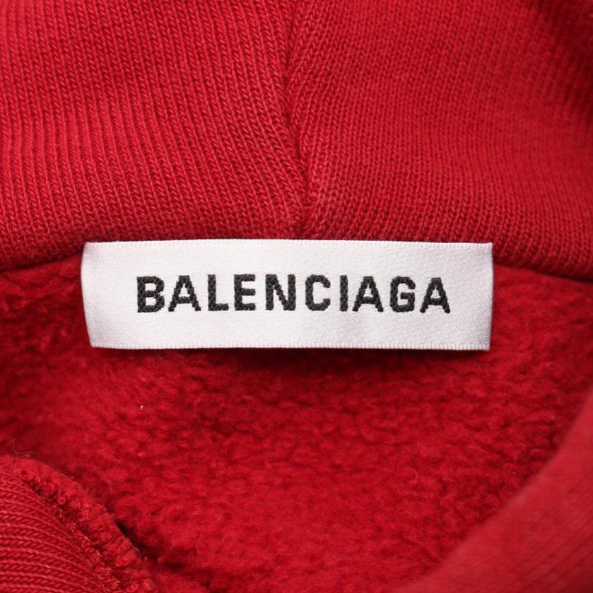BALENCIAGA・トップス・BB バレンシアガ フーディ スウェットパーカー ボルドー プルオーバー 19SS