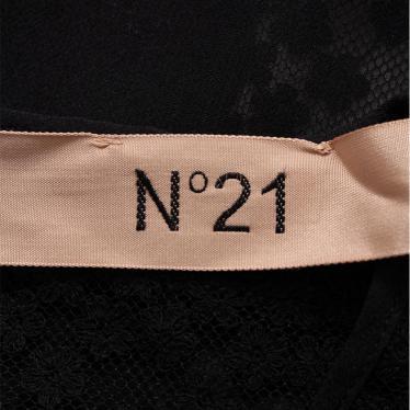 N°21・トップス・ ブラウス レース 半袖 シルク ナイロン 黒