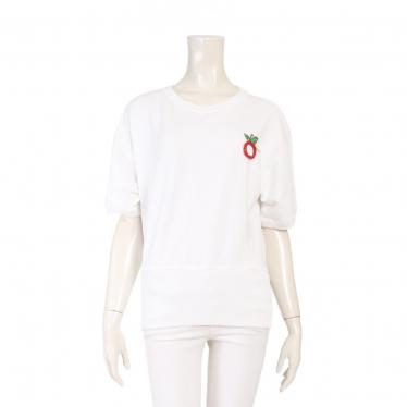 DSQUARED2・トップス・ スウェット 半袖 コットン 白 赤マルチカラー アップル スパンコール