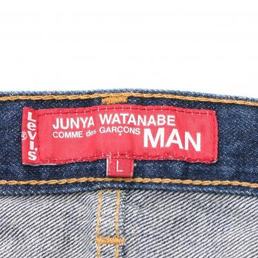 JUNYA WATANABE COMME des GARCONS MAN・ボトムス・JUNYA WATANABE COMME des GARCONS MAN × Levi's デニムパンツ チェック ネイビー 茶色 マルチカラー 切替