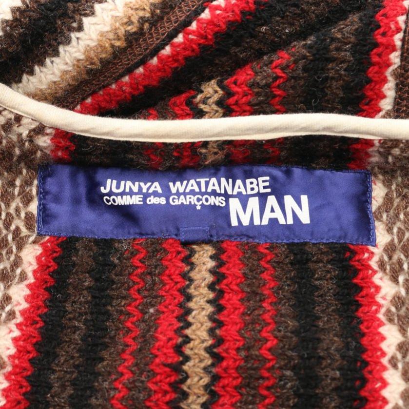JUNYA WATANABE COMME des GARCONS MAN・アウター・ ニットジャケット ストライプ ウール アイボリー マルチカラー ジップアップ