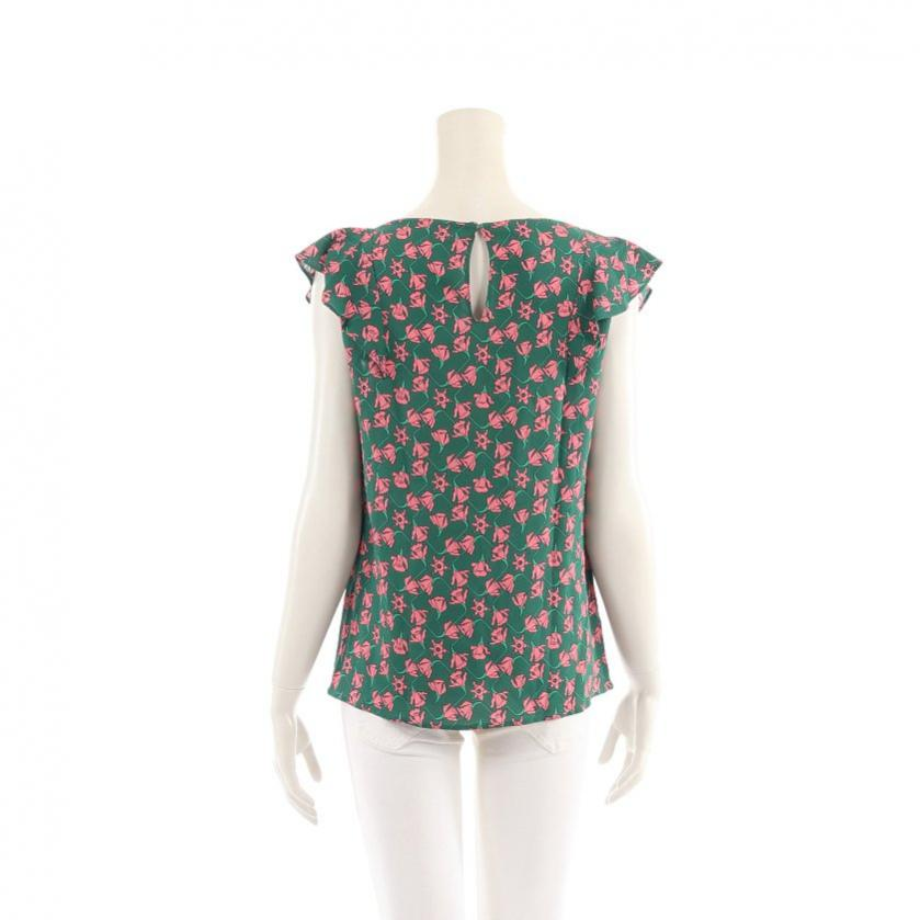 PRADA・トップス・ ブラウス 花柄 フレンチスリーブ レーヨン 緑 ピンク 袖フリル