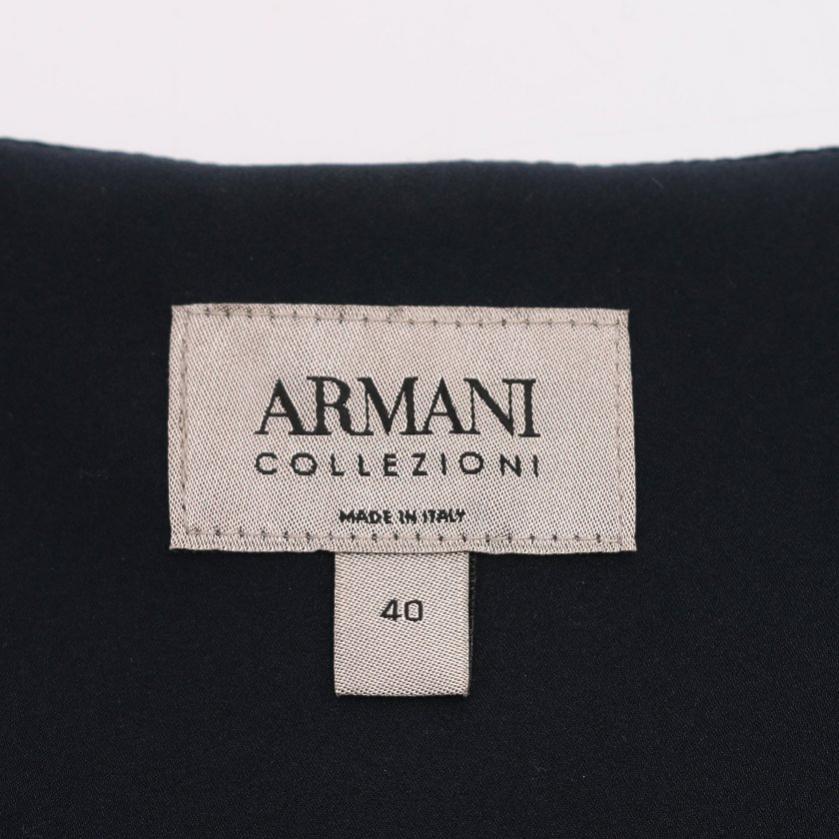 Armani Collezioni・アウター・ ノーカラージャケット 総柄 ネイビー 白 スナップボタン