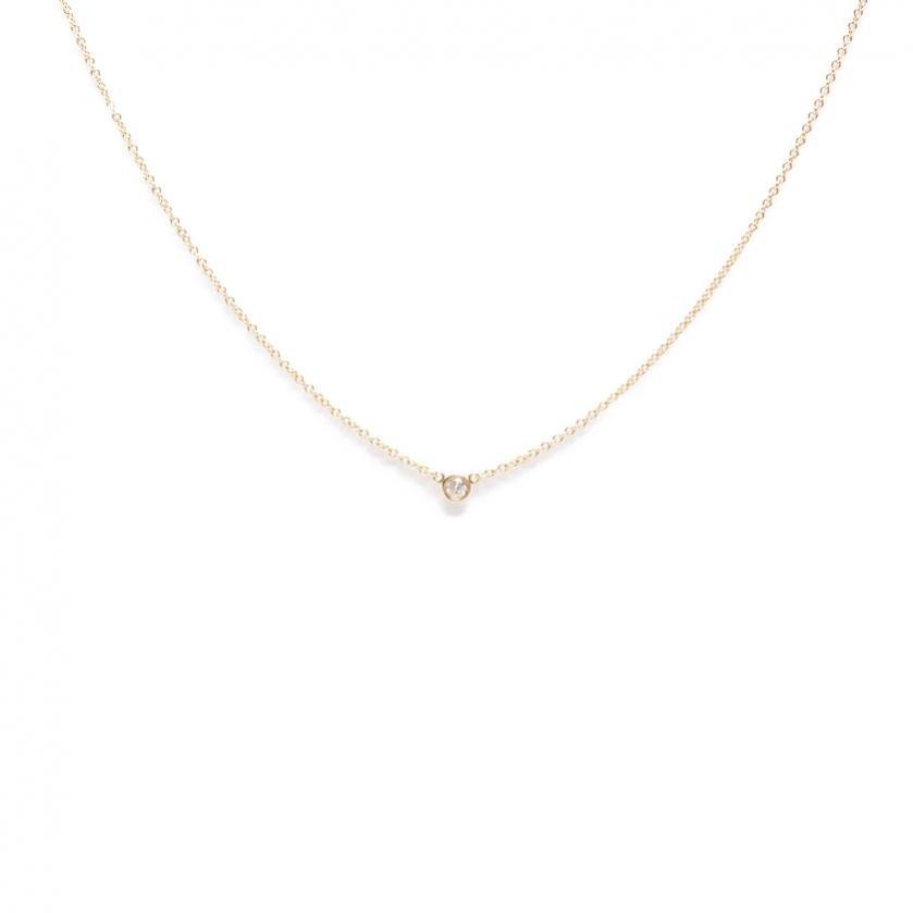 TIFFANY & Co.・アクセサリー・バイザヤード ネックレス K18YG イエローゴールド 1Pダイヤ