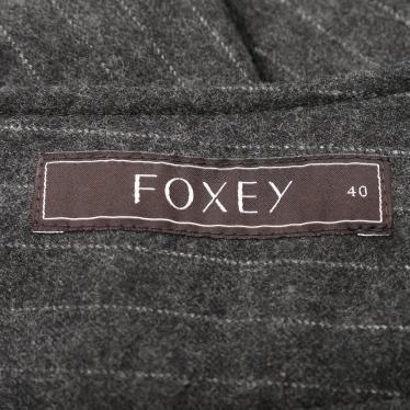FOXEY・ボトムス・スカート ストライプ ウール グレー