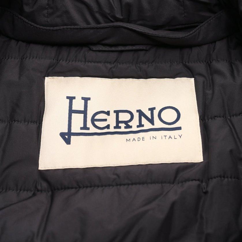 HERNO・アウター・ コート ダークネイビー ジップアップ ウェット素材