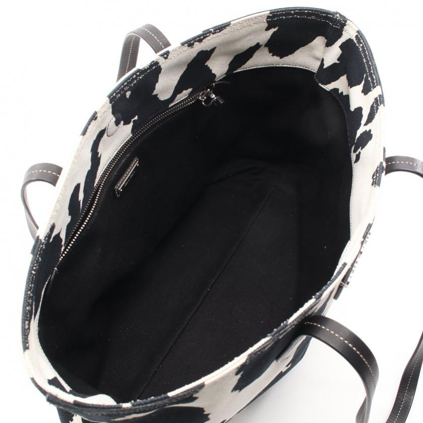 miu miu・バッグ・TESSUTO PRINT トートバッグ カウプリント キャンバス レザー 白 黒