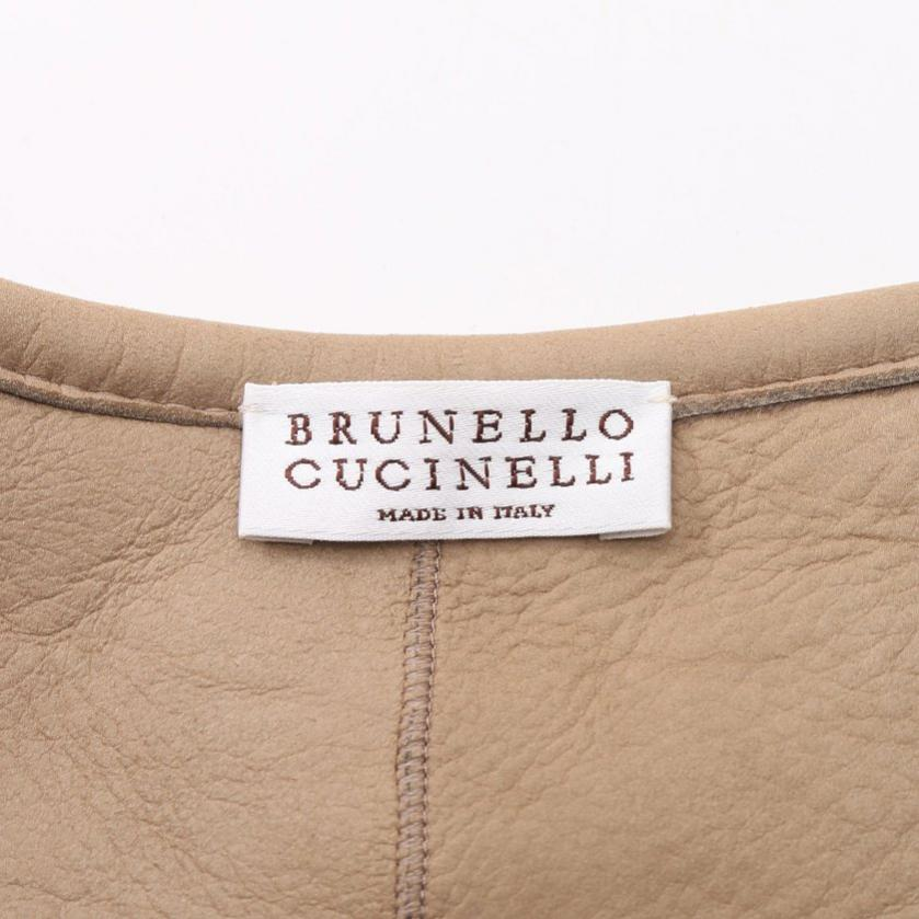 BRUNELLO CUCINELLI・アウター・ ボアジャケット ノーカラー レザー カシミヤ シルク 茶色 グレー ニット切替