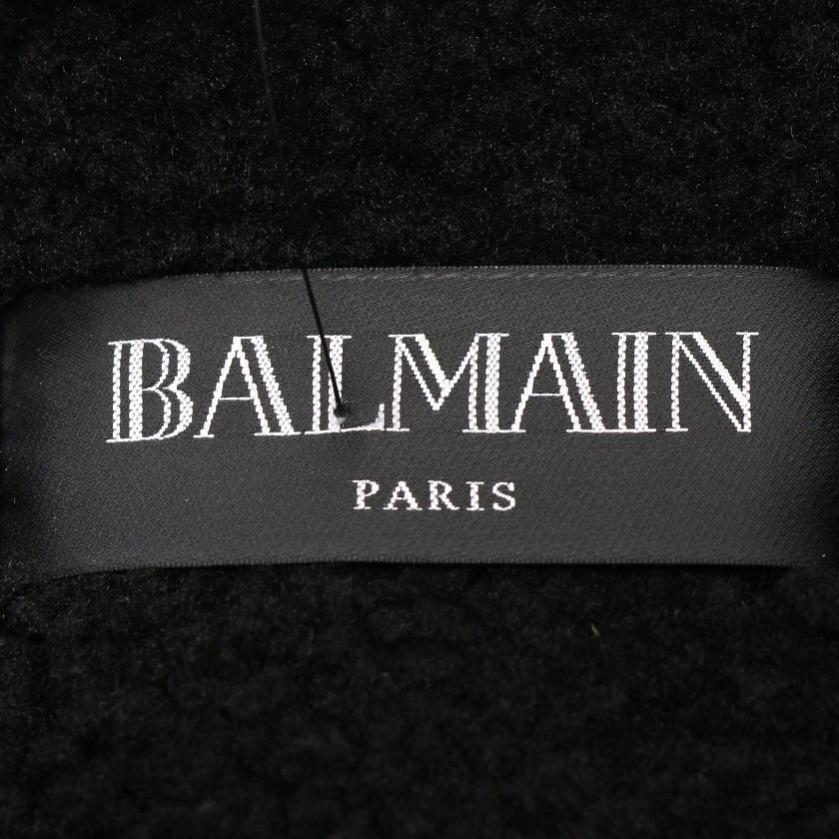 BALMAIN・アウター・ ライダースジャケット ムートン レザー 黒 切替