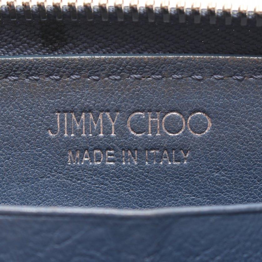 JIMMY CHOO・財布・小物・FILIPA ラウンドファスナー長財布 レザー ブルーグレー スタースタッズ