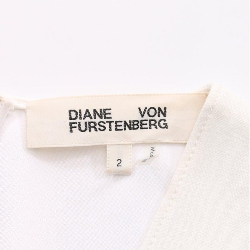 DIANE von FURSTENBERG・ワンピース・ワンピース Vネック 白 べージュ ネイビー