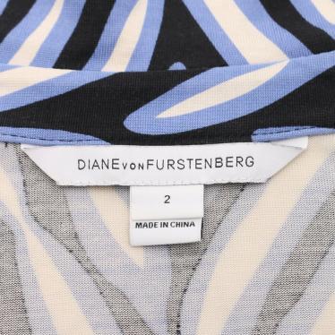 DIANE von FURSTENBERG・ワンピース・New Julian Two ラップワンピース 総柄 シルク 黒 青 アイボリー