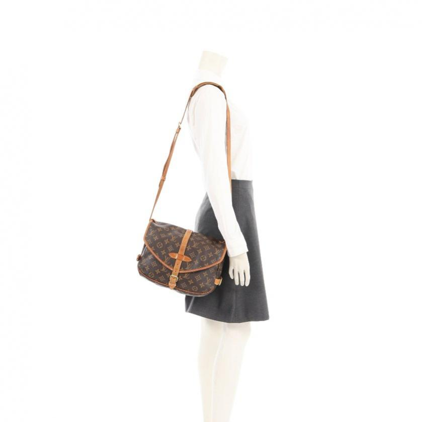 LOUIS VUITTON・バッグ・ソミュール30 モノグラム ショルダーバッグ PVC レザー 茶色