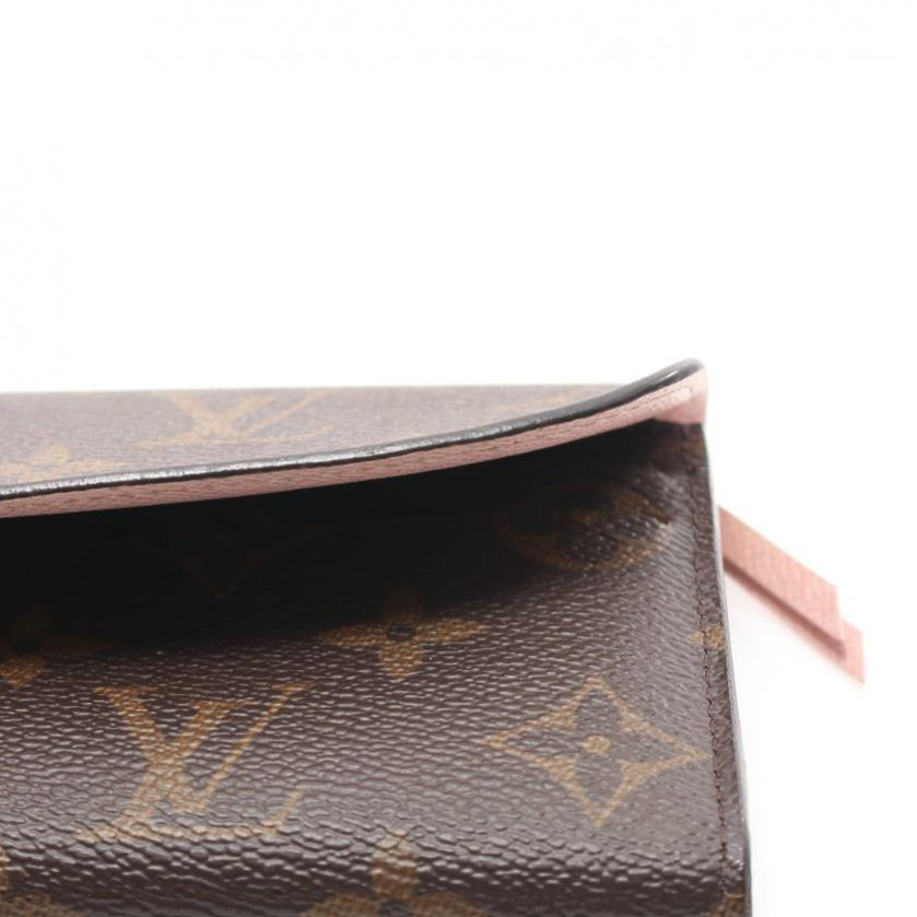 LOUIS VUITTON・財布・小物・ポルトフォイユ エミリー モノグラム 二つ折り長財布 PVC レザー 茶色 ローズバレリーヌ