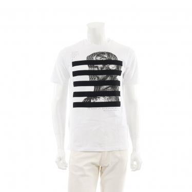 DIESEL・トップス・FRONT PRINT CANVAS PANEL Tシャツ カットソー 白 黒 マルチカラー