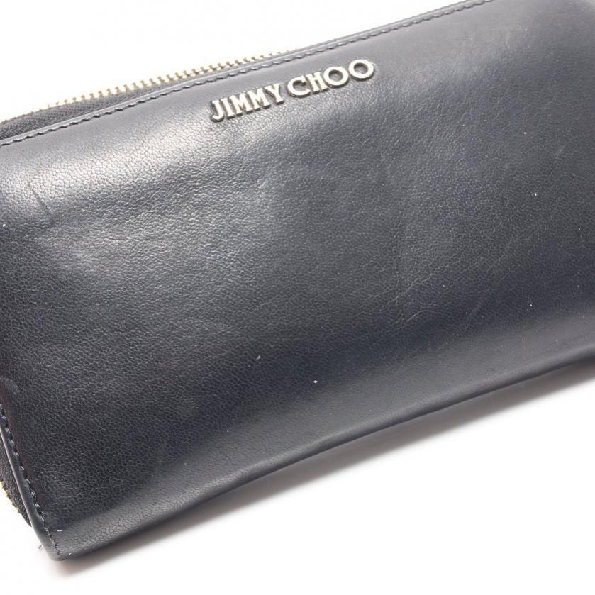 JIMMY CHOO・財布・小物・ ラウンドファスナー長財布 レザー 黒 メタルロゴ