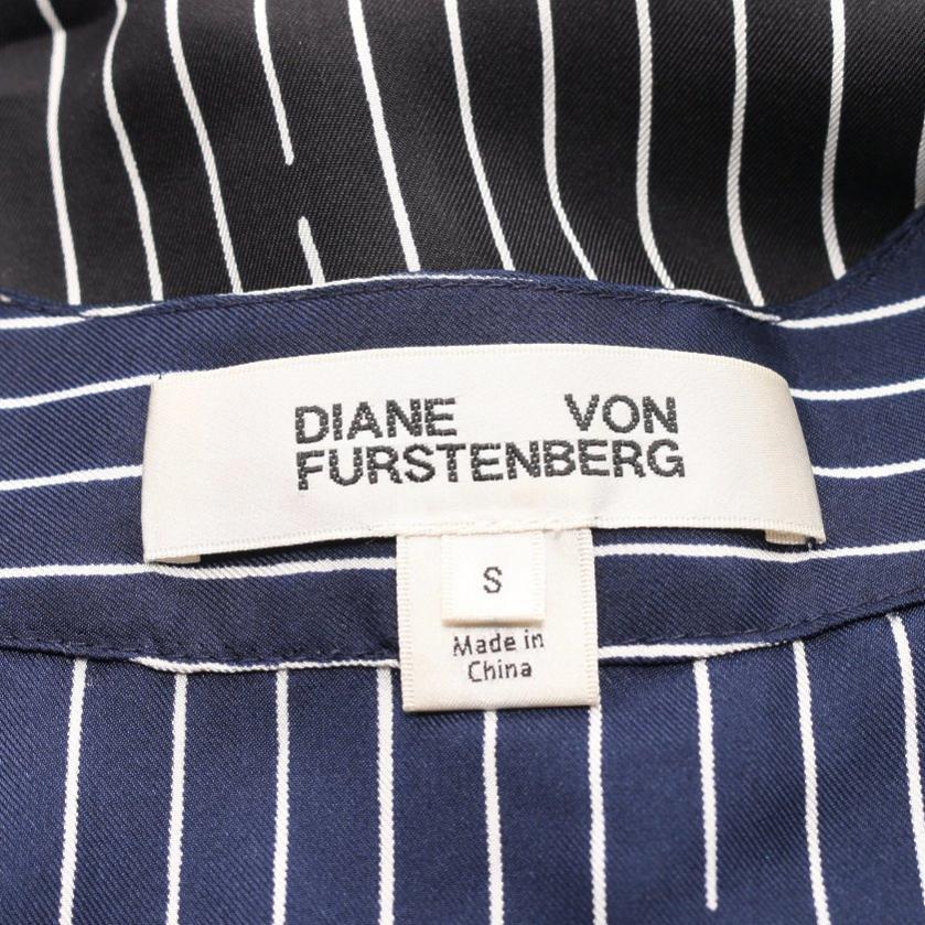 DIANE von FURSTENBERG・ワンピース・ ワンピース ストライプ シルク 黒 ネイビー 白
