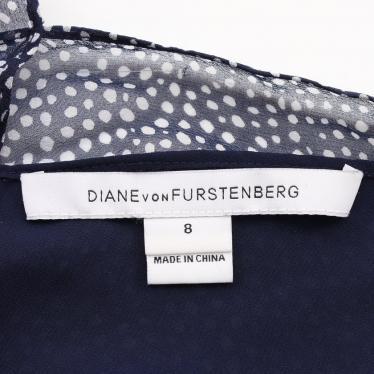 DIANE von FURSTENBERG・ワンピース・DITA ワンピース ドット柄 ネイビー 白