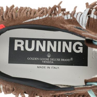 GOLDEN GOOSE・シューズ・RUNNING ローカットスニーカー スエード 茶色 マルチカラー フリンジ ユーズド加工