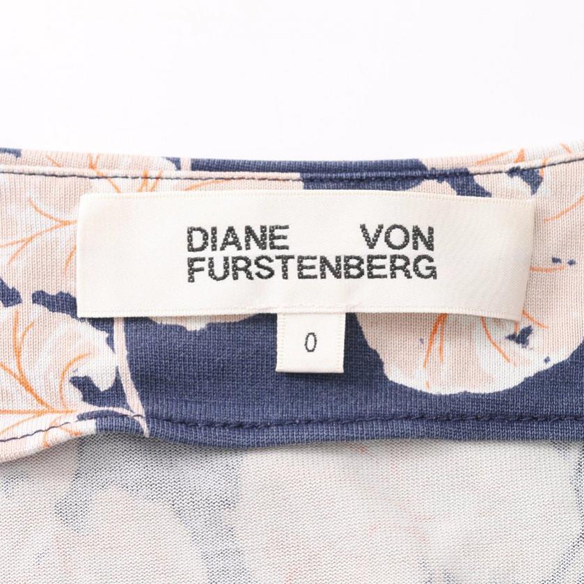 DIANE von FURSTENBERG・ワンピース・NEW JULIAN ラップワンピース リーフ柄 シルク ネイビー マルチカラー